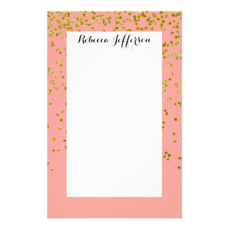 Girly Pink and Faux Gold Glitter Confetti Stationery