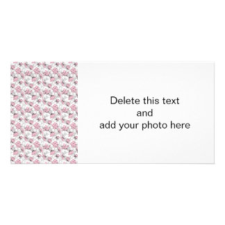Girly Pink and Gray Vintage Floral Pattern Card