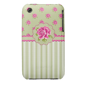 Girly Pink and Gree Floral iPhone 3 Case-Mate Cases