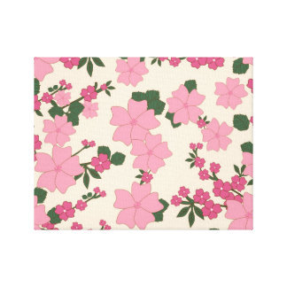 Girly Pink and Green Floral Background Gallery Wrapped Canvas