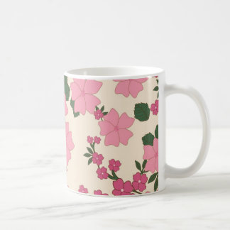 Girly Pink and Green Floral Background Coffee Mug