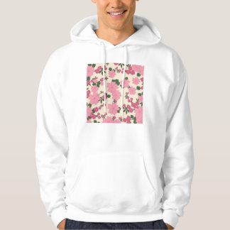 Girly Pink and Green Floral Background Hoodie