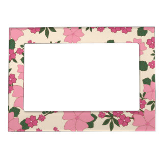 Girly Pink and Green Floral Background Magnetic Picture Frame
