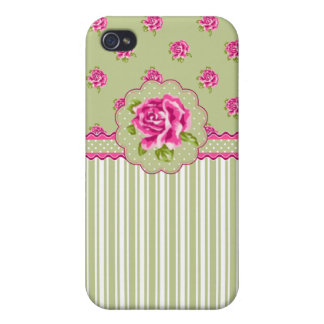 Girly Pink and Green Floral iPhone 4/4S Cover
