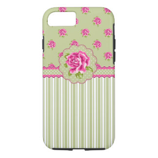 Girly Pink and Green Floral iPhone 7 Case