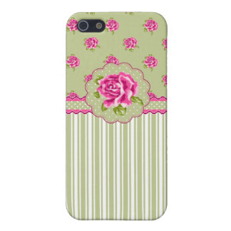 Girly Pink and Green Floral iPhone SE/5/5s Case