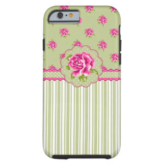 Girly Pink and Green Floral Tough iPhone 6 Case