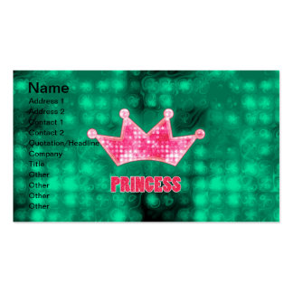 Girly Pink and Green Glitter Princess and Tiara Double-Sided Standard Business Cards (Pack Of 100)