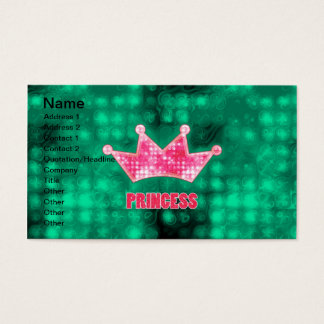 Girly Pink and Green Glitter Princess and Tiara Business Card