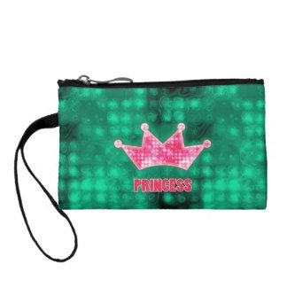 Girly Pink and Green Glitter Princess and Tiara Coin Wallet