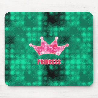 Girly Pink and Green Glitter Princess and Tiara Mouse Pad