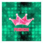 Girly Pink and Green Glitter Princess and Tiara Photograph