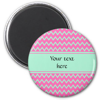 Girly Pink and Green Zigzag Pattern 2 Inch Round Magnet