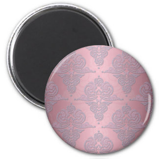 Girly Pink and Lavender Fancy Damask 2 Inch Round Magnet