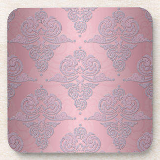 Girly Pink and Lavender Fancy Damask Drink Coaster