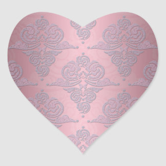 Girly Pink and Lavender Fancy Damask Heart Stickers