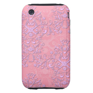 Girly Pink and Lavender Fancy Floral Damask iPhone 3 Tough Cases