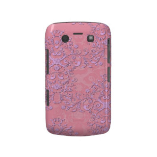 Girly Pink and Lavender Fancy Floral Damask Blackberry Bold Cases