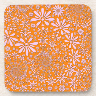 Girly Pink and Orange Floral Pattern Coaster