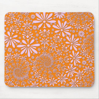 Girly Pink and Orange Floral Pattern Mouse Pad