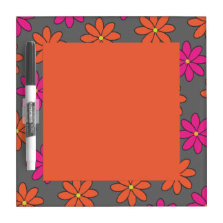 Girly Pink and Orange Flowers Dry-Erase Board