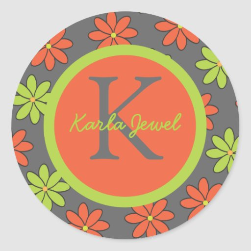 Girly Pink and Orange Flowers Round Stickers