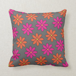 Girly Pink and Orange Flowers Throw Pillows
