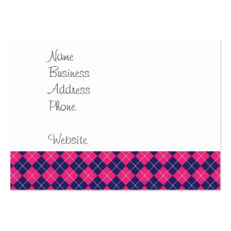 Girly Pink and Purple Argyle Diamond Pattern Large Business Cards (Pack Of 100)