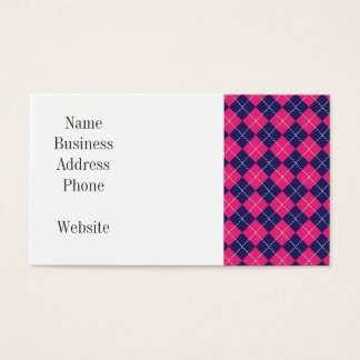 Girly Pink and Purple Argyle Diamond Pattern Business Card