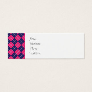 Girly Pink and Purple Argyle Diamond Pattern Mini Business Card