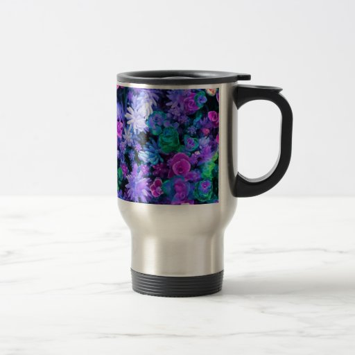 Girly Pink and Purple Floral Succulents 15 Oz Stainless Steel Travel Mug