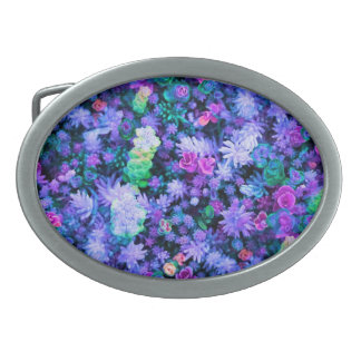 Girly Pink and Purple Floral Succulents Belt Buckle