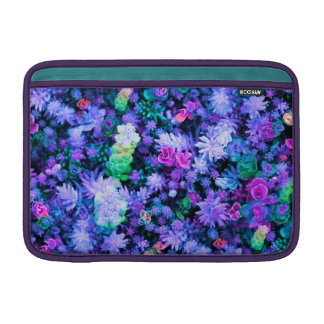 Girly Pink and Purple Floral Succulents Sleeves For MacBook Air