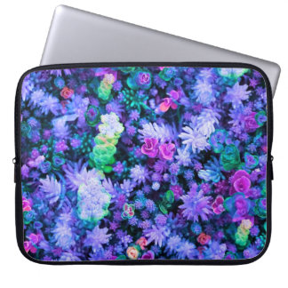 Girly Pink and Purple Floral Succulents Laptop Computer Sleeve