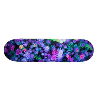 Girly Pink and Purple Floral Succulents Skateboard
