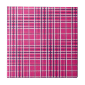 Girly Pink and Purple Plaid Pattern Gifts for Her Tile