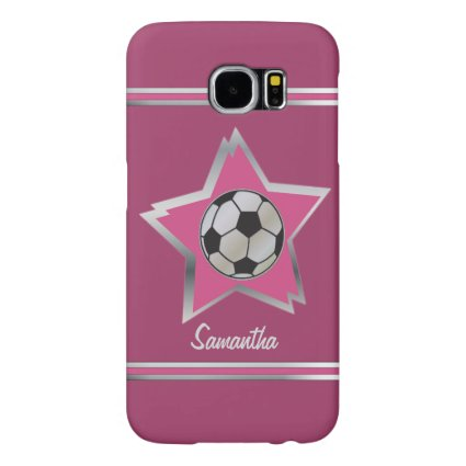 Girly Pink and Silver Effect Soccer Star Samsung Galaxy S6 Cases