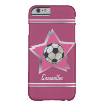 Girly Pink and Silver Effect Soccer Star Barely There iPhone 6 Case