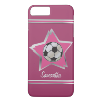 Girly Pink and Silver Effect Soccer Star iPhone 7 Plus Case