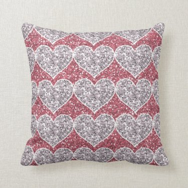 Girly Pink and Silver Glitter Hearts Pillow