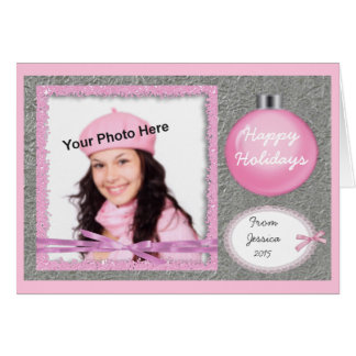 Girly Pink and Silver Holiday Photo Card Greeting Cards