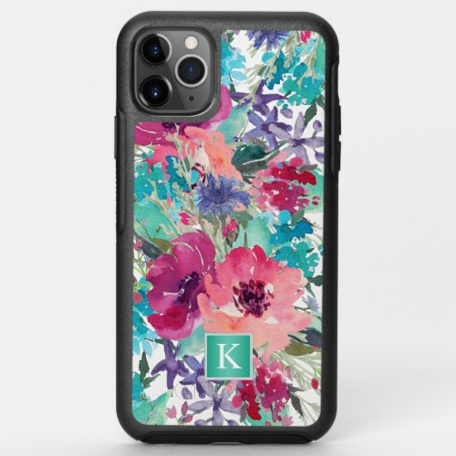 Girly Pink and Turquoise Floral with Monogram Phone Case