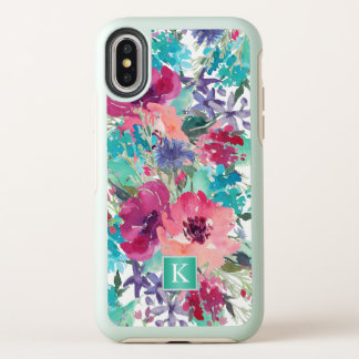 Girly Pink and Turquoise Watercolor Floral OtterBox Symmetry iPhone X Case