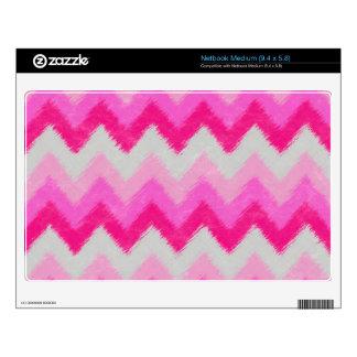 Girly Pink and White Bohemian Chevron Pattern Medium Netbook Skins