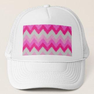 Girly Pink and White Bohemian Chevron Pattern Trucker Hat