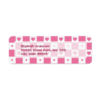 Girly Pink and White Checkerboard Hearts Label
