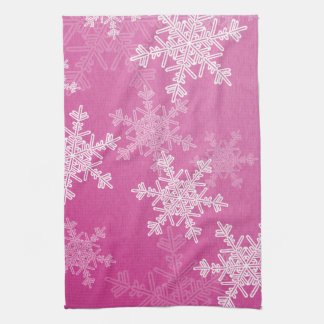 Girly pink and white Christmas snowflakes Hand Towel
