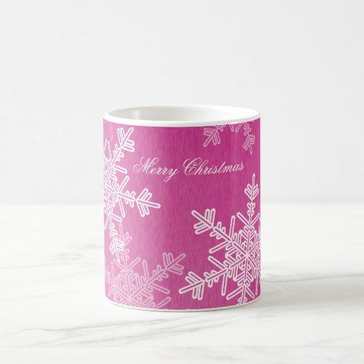 Girly pink and white Christmas snowflakes Mugs