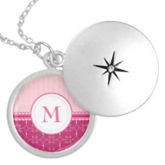 Girly Pink And White Custom Monogram Pattern Round Locket Necklace