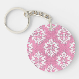 Girly Pink and White Damask Keychain